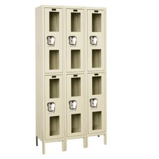 Safety Clear View Three Wide Double-Tier Locker - Unassembled - Tan - 36