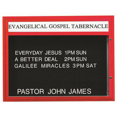 Single Sided Illuminated Community Board with Header and Red Powder Coat Finish - 36