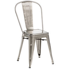 Oscar Steel Powder Coated Stackable Armless Chair - Set of 4 - Brushed Gun Metal