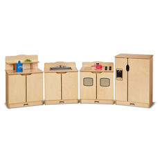 4 Piece Kinder-Kitchen with Wooden Turn-Button Controls