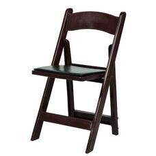 1000 lb. Max Red Mahogany Resin Folding Chair