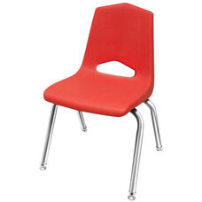 MG Series V-Back Steel Frame Stack Chair with 12''H Seat - Red Seat and Chrome Frame - 14.5''W x 15.3''D x 22''H