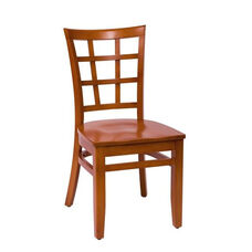 Pennington Cherry Wood Window Pane Chair - Wood Seat