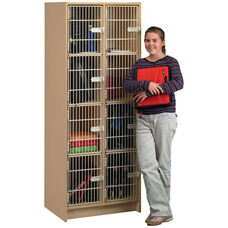 2000 Series 8 Compartment Wood Student Locker with Grille Style Wire Doors