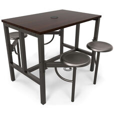 Endure Steel Frame Table with 4 Swivel Seats - Walnut Table Top and Dark Vein Seats