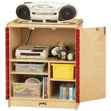 Wooden Locking Media Cart with 2 Adjustable Half Shelves - 24.5