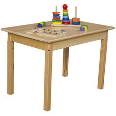 Solid Hardwood Rectangular Table with Rounded Child Safe Corners and Non-Toxic Natural Finish - 36