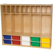 Wooden Locker and Communication Center with 10 Assorted Plastic Trays - 58