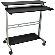 Steel Frame 3 Shelf Adjustable Height Standing Presentation Station - Black - 39.5