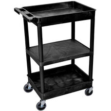 Heavy Duty Multi-Purpose Mobile Tub Utility Cart with 1 Flat Shelf and 2 Tub Shelves - Black - 24''W x 18''D x 36.5''H