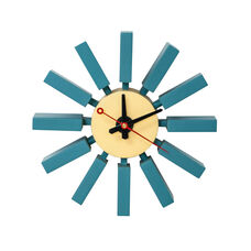 Postmodern Wall Clock with Painted Blue Wood Spokes