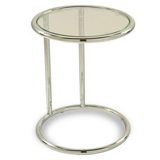 Ave Six Yield Tempered Glass Circle Table with Chrome Finished Steel Base - Clear