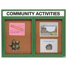 2 Door Indoor Illuminated Enclosed Bulletin Board with Header and Green Powder Coated Aluminum Frame - 48