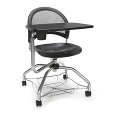 Foresee Series Tablet Moon Student Chair with Removable Plastic Seat Cushion - Black