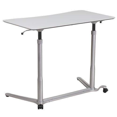 Our Sit-Down, Stand-Up Light Gray Computer Ergonomic Desk with 37.375