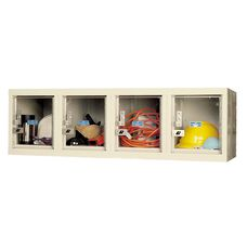 Safety Clear View Plus Box Four Wide Locker - Unassembled - Wall Mount - Tan - 48
