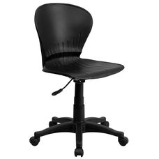 Mid-Back Black Plastic Swivel Task Office Chair