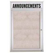 1 Door Outdoor Illuminated Enclosed Bulletin Board with Header and Aluminum Frame - 48