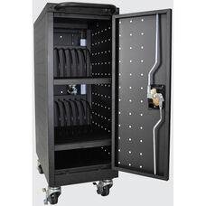 Locking Steel 16 Tablet/Chromebook Computer Charging Cart - Black - 12