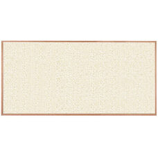 Burlap Weave Vinyl Bulletin Board with Red Oak Frame and Clear Lacquer Finish - White Rice - 48