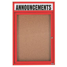 1 Door Indoor Illuminated Enclosed Bulletin Board with Header and Red Powder Coated Aluminum Frame - 24