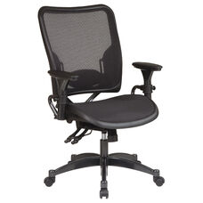 Space Professional Dual Function Ergonomic Air Grid Chair with Gun Metal Finish Accents and Adjustable Arms