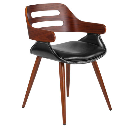 Our Contemporary Walnut Bentwood Side Reception Chair with Cross Stitched Black LeatherSoft Seat is on sale now.
