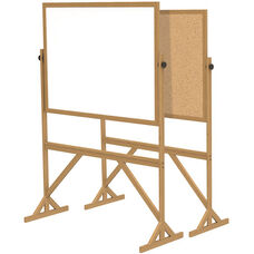 Reversible Double Sided White Board and Natural Cork Bulletin Board with Wooden Frame - 73.5