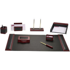 Wood and Leather 8 Piece Desk Set - Rosewood and Black