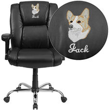 Embroidered HERCULES Series Big & Tall 400 lb. Rated Black Leather Swivel Task Chair with Adjustable Arms and Chrome Base