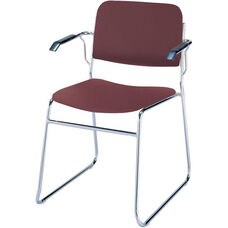 Quick Ship 300 Series Stacking Steel Frame Guest Armchair with Chrome Sled Base and 1.5'' Upholstered Seat