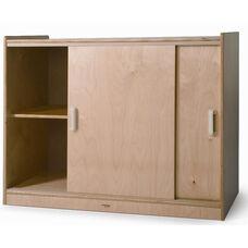 Sliding Doors Birch Laminate Storage Cabinet in Natural UV Finish