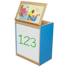 Blueberry Big Book Display and Storage with Locking Piano Hinged Top with Marker Board on Front - Assembled - 24