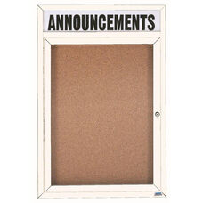 1 Door Indoor Illuminated Enclosed Bulletin Board with Header and White Powder Coated Aluminum Frame - 48