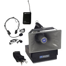 Wireless Half-Mile 50 Watt Hailer with Headset and Lapel Microphones - 12