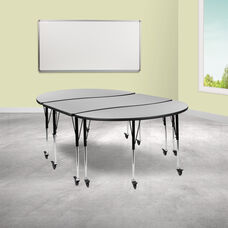 """3 Piece Mobile 86"""" Oval Wave Collaborative Grey Thermal Laminate Activity Table Set - Standard Height Adjustable Legs"""