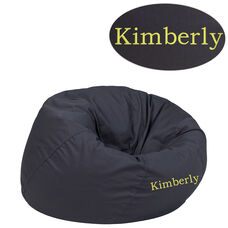 Personalized Small Solid Gray Bean Bag Chair for Kids and Teens