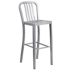 "30"" High Silver Metal Indoor-Outdoor Barstool with Vertical Slat Back"