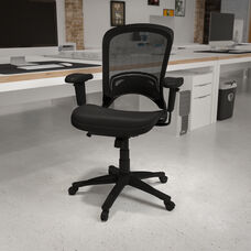 Mid-Back Transparent Black Mesh Executive Swivel Office Chair with Adjustable Arms