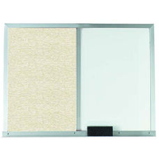 Beige Fabric Tack Board Next to a Melamine Marker Board with Aluminum Frame