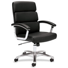 Basyx Mid-Back Executive Chair with Padded Arms and Chrome Base - Black Leather