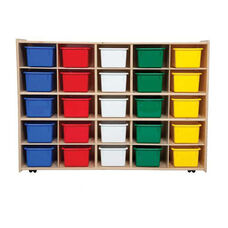 25 Cubbie Tray Baltic Birch Plywood Storage Unit with Tuff-Gloss UV Finish and Assorted Color Cubbie Trays - Assembled with Casters - 46.75
