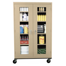 See-Thru Series 46'' W x 24'' D x 78'' H Clear View Mobile Tall Storage Cabinet - Tropic Sand