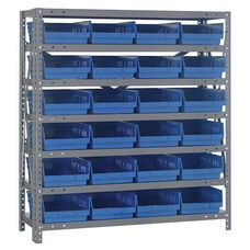 18''D 7 Shelf Unit with 24 Bins - Blue