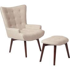 Ave Six Dalton Chair with Ottoman - Milford Toast and Medium Espresso