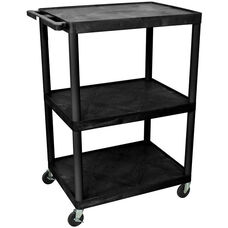 3 Shelf High Open A/V Utility Cart - Black - 32''W x 24''D x 48.25''H