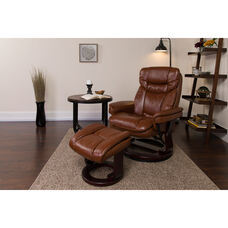 Contemporary Multi-Position Recliner and Curved Ottoman with Swivel Mahogany Wood Base in Brown Vintage Leather
