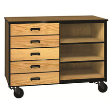 Denali 1000 Series Mobile Low Storage Cabinet w/ 5 Half-width Drawers & 1 Adjustable Shelf
