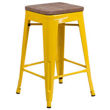 """24"""" High Backless Yellow Metal Counter Height Stool with Square Wood Seat"""