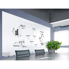 Aria Horizontal Glass Dry Erase Board with 4 Markers and Eraser - White - 36